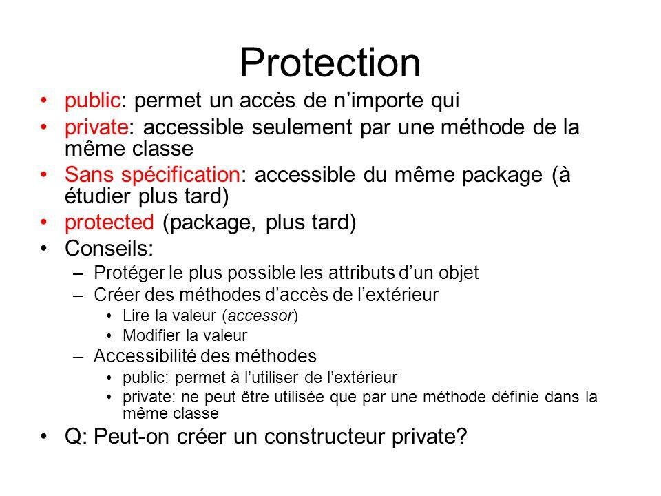 Protection public: permet un accès de nimporte qui private: accessible seulement par une méthode de la même classe Sans spécification: accessible du m