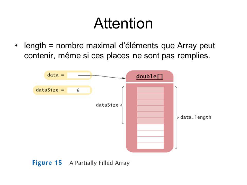 Attention length = nombre maximal déléments que Array peut contenir, même si ces places ne sont pas remplies.
