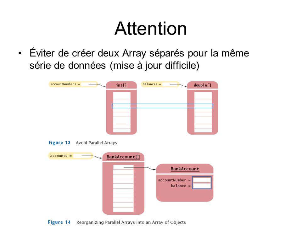 Attention Éviter de créer deux Array séparés pour la même série de données (mise à jour difficile)