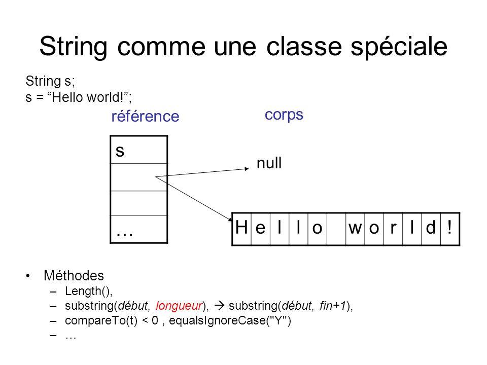 String comme une classe spéciale String s; s = Hello world!; Méthodes –Length(), –substring(début, longueur), substring(début, fin+1), –compareTo(t) <