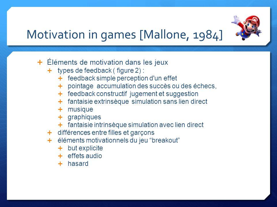 Motivation in games [Mallone, 1984] Éléments de motivation dans les jeux types de feedback ( figure 2) : feedback simple perception d'un effet pointag