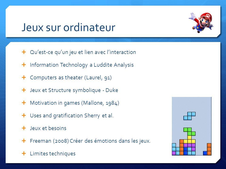 Quest-ce quun jeu et lien avec linteraction Information Technology a Luddite Analysis Computers as theater (Laurel, 91) Jeux et Structure symbolique -