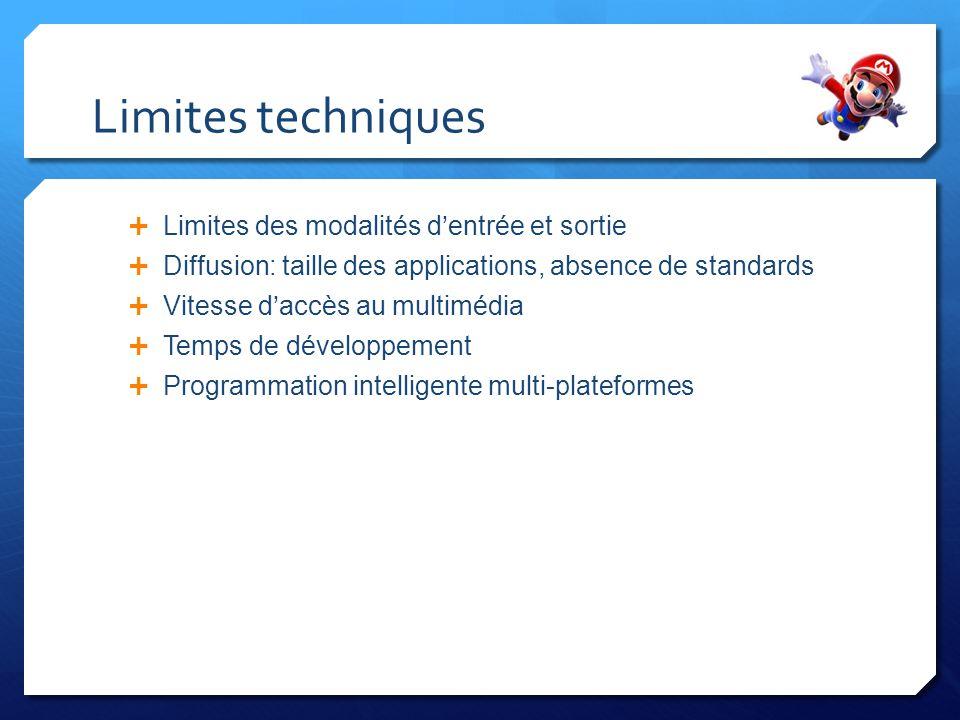 Limites techniques Limites des modalités dentrée et sortie Diffusion: taille des applications, absence de standards Vitesse daccès au multimédia Temps
