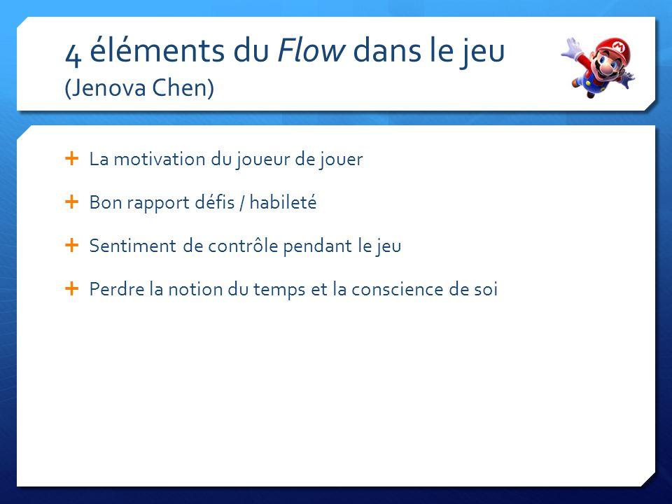 4 éléments du Flow dans le jeu (Jenova Chen) La motivation du joueur de jouer Bon rapport défis / habileté Sentiment de contrôle pendant le jeu Perdre