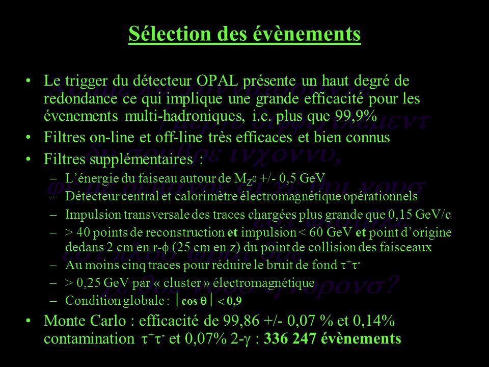 Sélection des évènements Le trigger du détecteur OPAL présente un haut degré de redondance ce qui implique une grande efficacité pour les évenements multi-hadroniques, i.e.