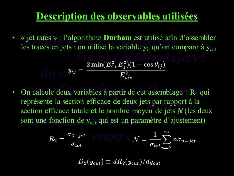 Description des observables utilisées « jet rates » : lalgorithme Durham est utilisé afin dassembler les traces en jets : on utilise la variable y ij quon compare à y cut NOn calcule deux variables à partir de cet assemblage : R 2 qui représente la section efficace de deux jets par rapport à la section efficace totale et le nombre moyen de jets N (les deux sont une fonction de y cut qui est un paramètre dajustement)