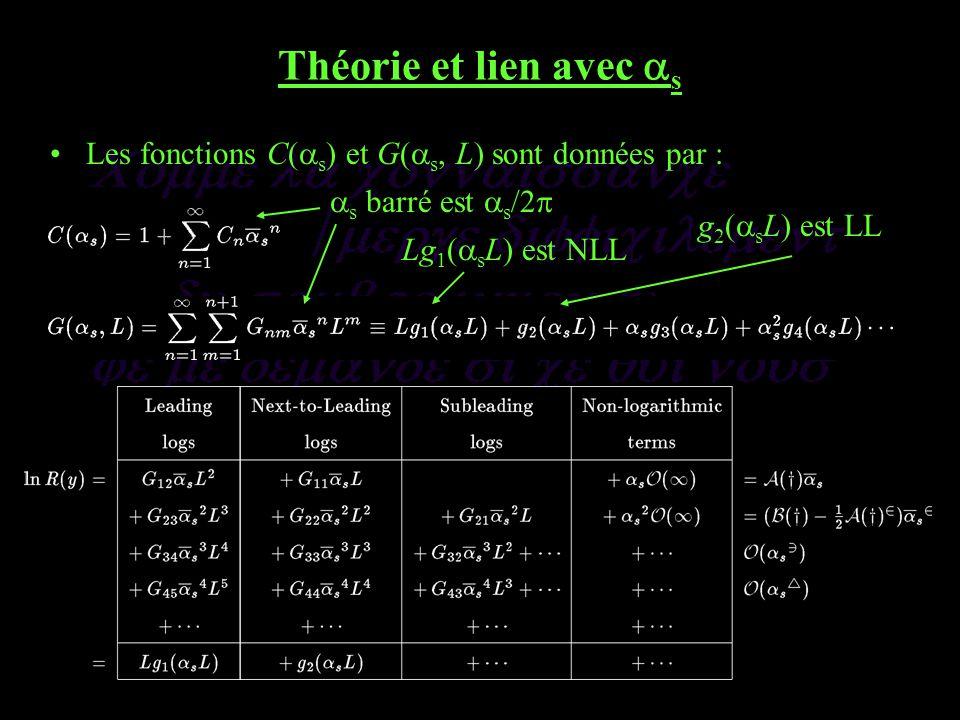 Théorie et lien avec s Les fonctions C( s ) et G( s, L) sont données par : s barré est s /2 Lg 1 ( s L) est NLL g 2 ( s L) est LL
