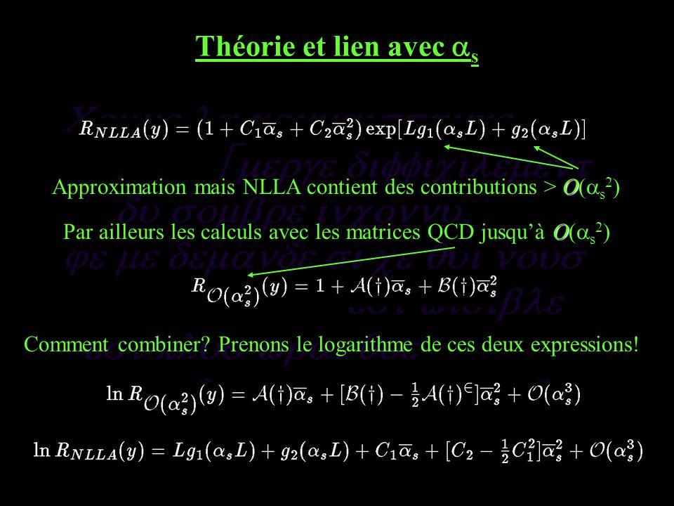 Théorie et lien avec s O Approximation mais NLLA contient des contributions > O( s 2 ) O Par ailleurs les calculs avec les matrices QCD jusquà O( s 2 ) Comment combiner.