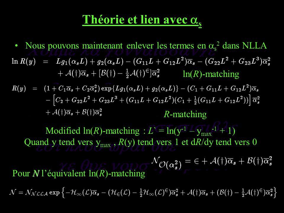 Théorie et lien avec s Nous pouvons maintenant enlever les termes en s 2 dans NLLA ln(R)-matching R-matching Modified ln(R)-matching : L` = ln(y -1 – y max -1 + 1) Quand y tend vers y max, R(y) tend vers 1 et dR/dy tend vers 0 N Pour N léquivalent ln(R)-matching