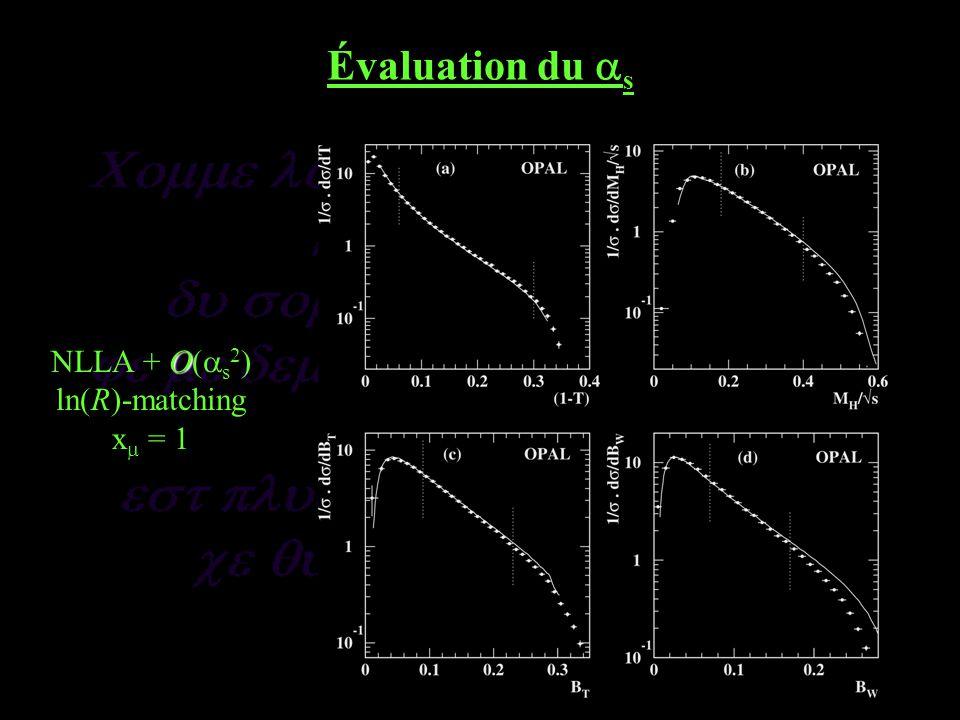 Évaluation du s O NLLA + O( s 2 ) ln(R)-matching x = 1