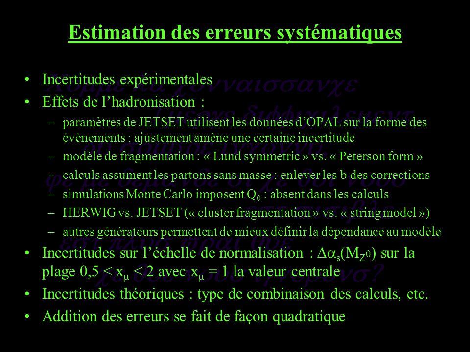 Estimation des erreurs systématiques Incertitudes expérimentales Effets de lhadronisation : –paramètres de JETSET utilisent les données dOPAL sur la forme des évènements : ajustement amène une certaine incertitude –modèle de fragmentation : « Lund symmetric » vs.
