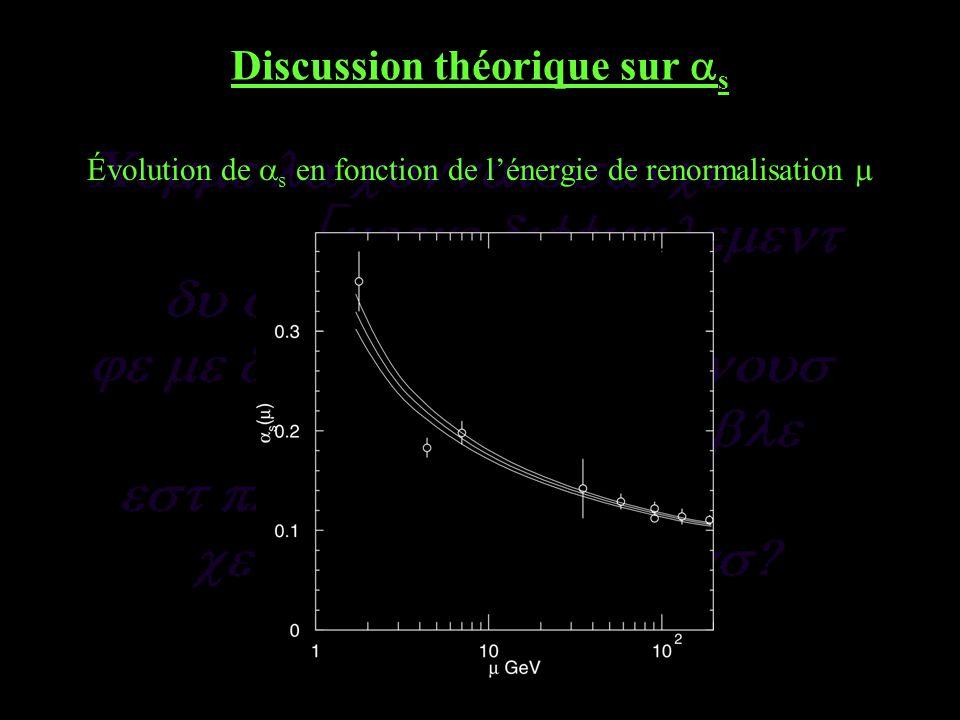 Discussion théorique sur s Évolution de s en fonction de lénergie de renormalisation