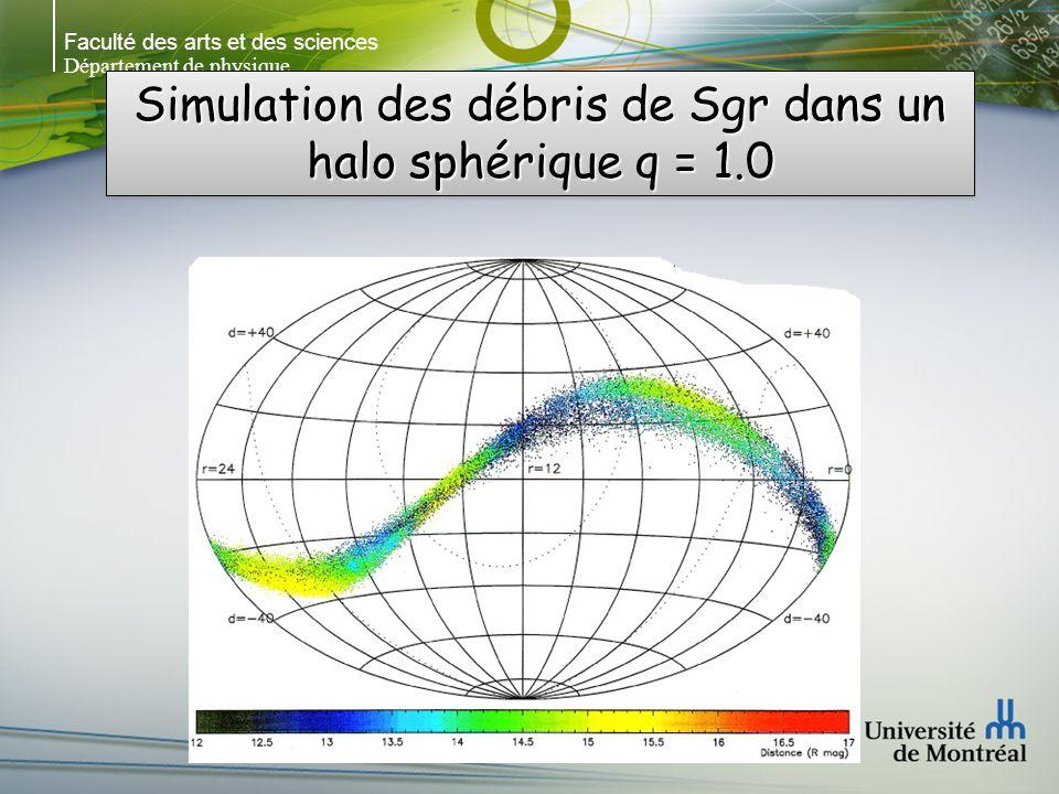 Faculté des arts et des sciences Département de physique Simulation des débris de Sgr dans un halo sphérique q = 1.0