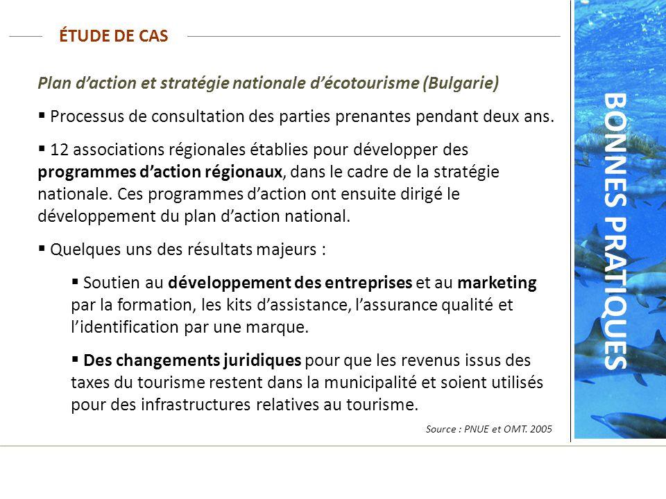 ÉTUDE DE CAS BONNES PRATIQUES Plan daction et stratégie nationale décotourisme (Bulgarie) Processus de consultation des parties prenantes pendant deux