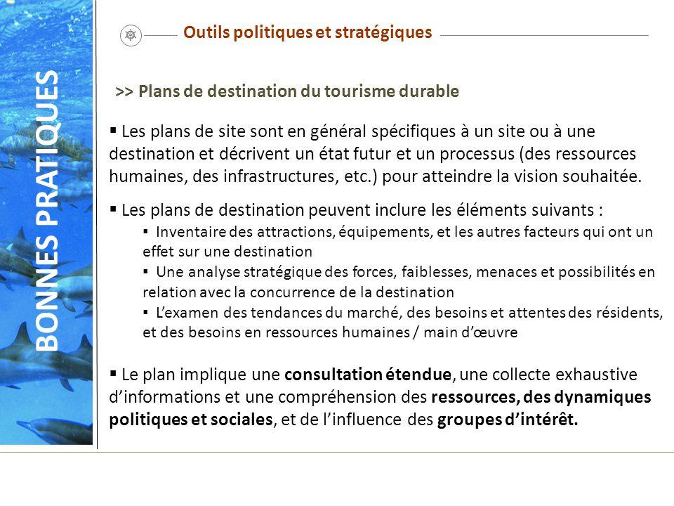 Outils politiques et stratégiques Les plans de site sont en général spécifiques à un site ou à une destination et décrivent un état futur et un proces