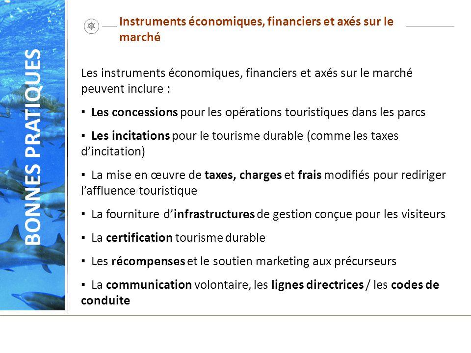 Instruments économiques, financiers et axés sur le marché Les instruments économiques, financiers et axés sur le marché peuvent inclure : Les concessi