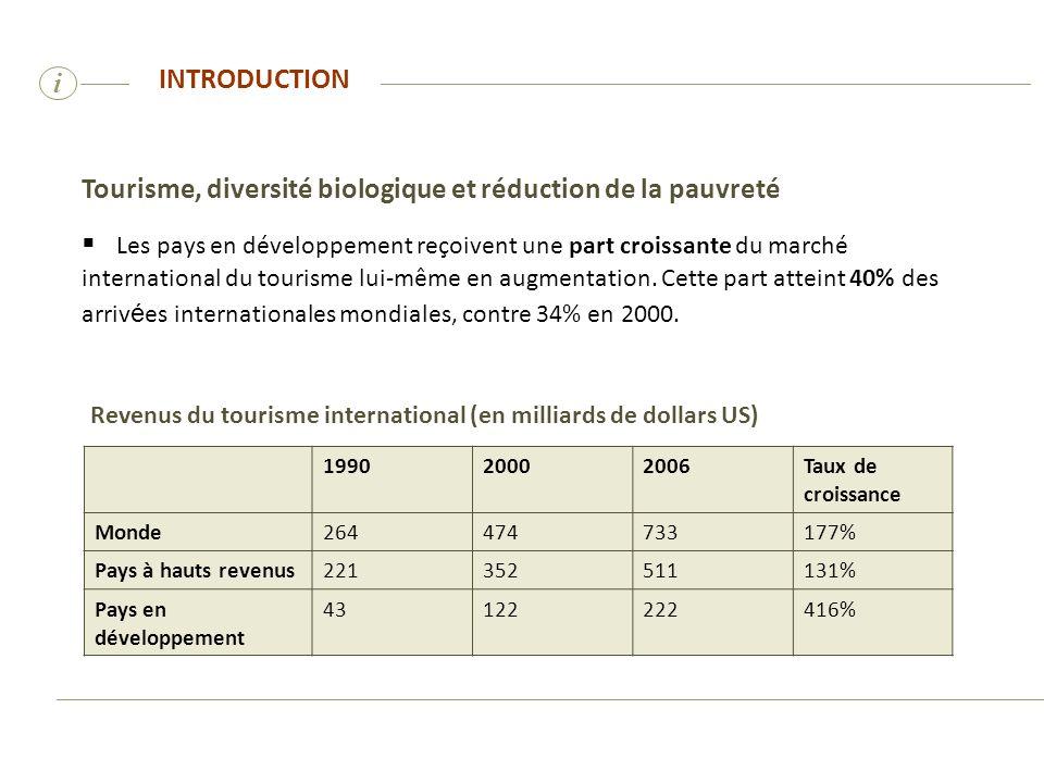 i Tourisme, diversité biologique et réduction de la pauvreté Les pays en développement reçoivent une part croissante du marché international du touris