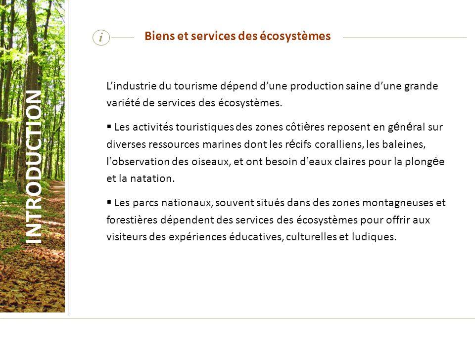 i Lindustrie du tourisme dépend dune production saine dune grande variété de services des écosystèmes. Les activités touristiques des zones côti è res