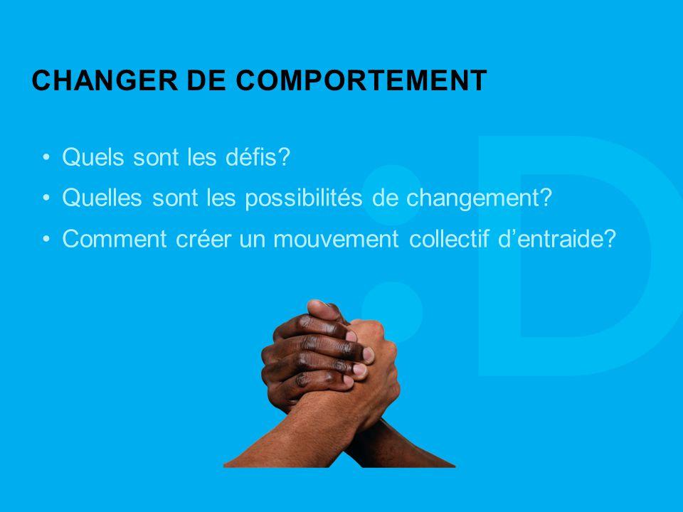 CHANGER DE COMPORTEMENT Quels sont les défis. Quelles sont les possibilités de changement.