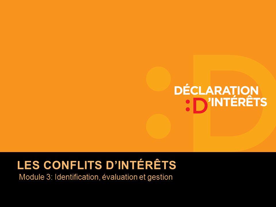 Module 3: Identification, évaluation et gestion LES CONFLITS DINTÉRÊTS