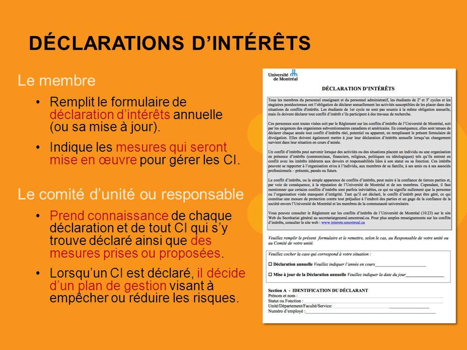 DÉCLARATIONS DINTÉRÊTS Le membre Remplit le formulaire de déclaration dintérêts annuelle (ou sa mise à jour).