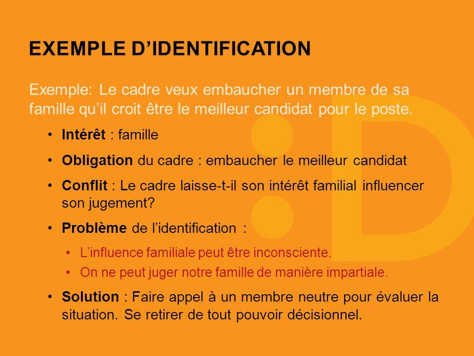 EXEMPLE DIDENTIFICATION Exemple: Le cadre veux embaucher un membre de sa famille quil croit être le meilleur candidat pour le poste.