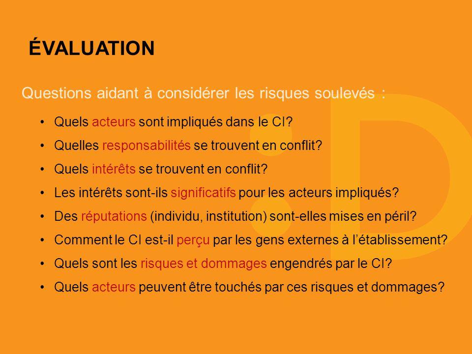 ÉVALUATION Questions aidant à considérer les risques soulevés : Quels acteurs sont impliqués dans le CI.