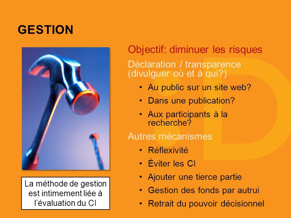 GESTION Objectif: diminuer les risques Déclaration / transparence (divulguer où et à qui ) Au public sur un site web.
