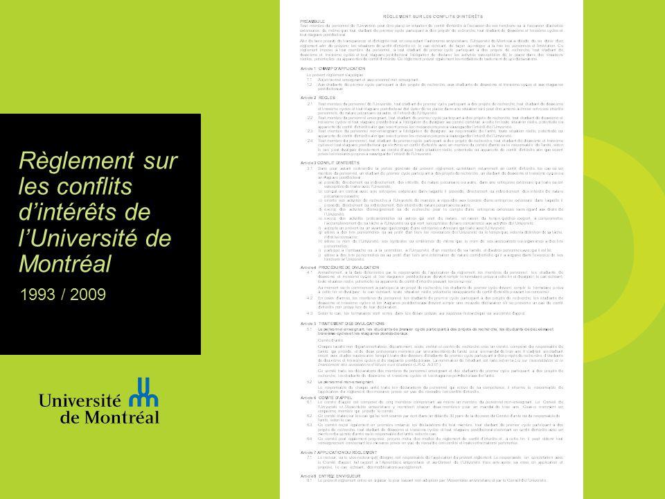 Règlement sur les conflits dintérêts de lUniversité de Montréal 1993 / 2009