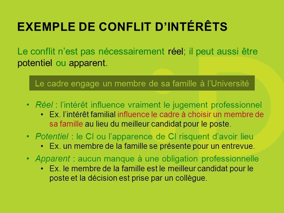 EXEMPLE DE CONFLIT DINTÉRÊTS Le cadre engage un membre de sa famille à lUniversité Réel : lintérêt influence vraiment le jugement professionnel Ex.