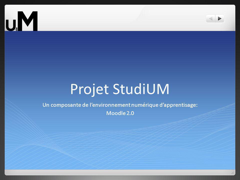 Projet StudiUM Un composante de lenvironnement numérique dapprentisage: Moodle 2.0