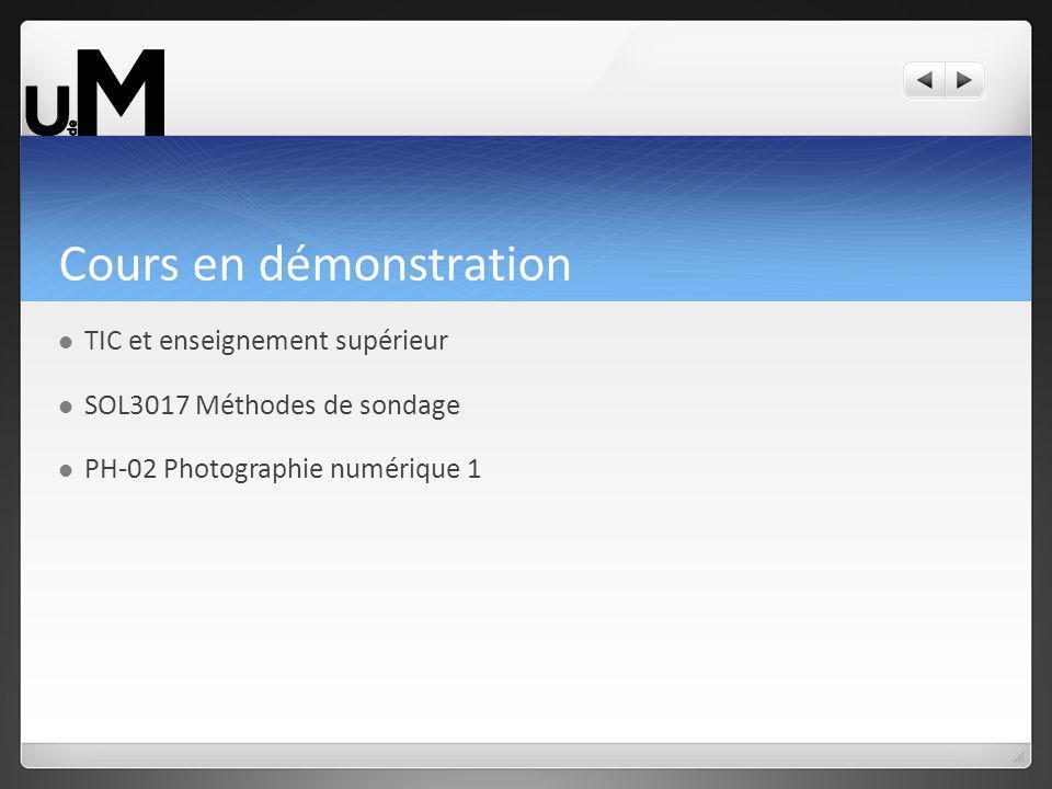 Cours en démonstration TIC et enseignement supérieur SOL3017 Méthodes de sondage PH-02 Photographie numérique 1
