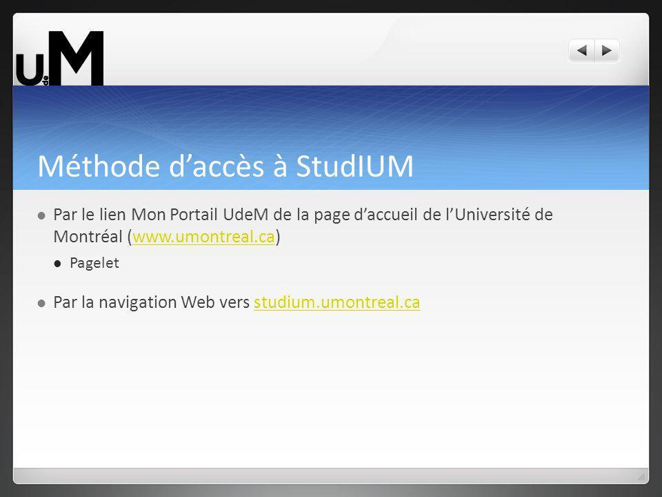 Méthode daccès à StudIUM Par le lien Mon Portail UdeM de la page daccueil de lUniversité de Montréal (www.umontreal.ca)www.umontreal.ca Pagelet Par la