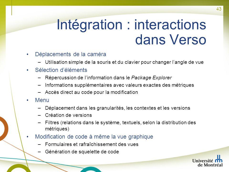 43 Intégration : interactions dans Verso Déplacements de la caméra –Utilisation simple de la souris et du clavier pour changer langle de vue Sélection