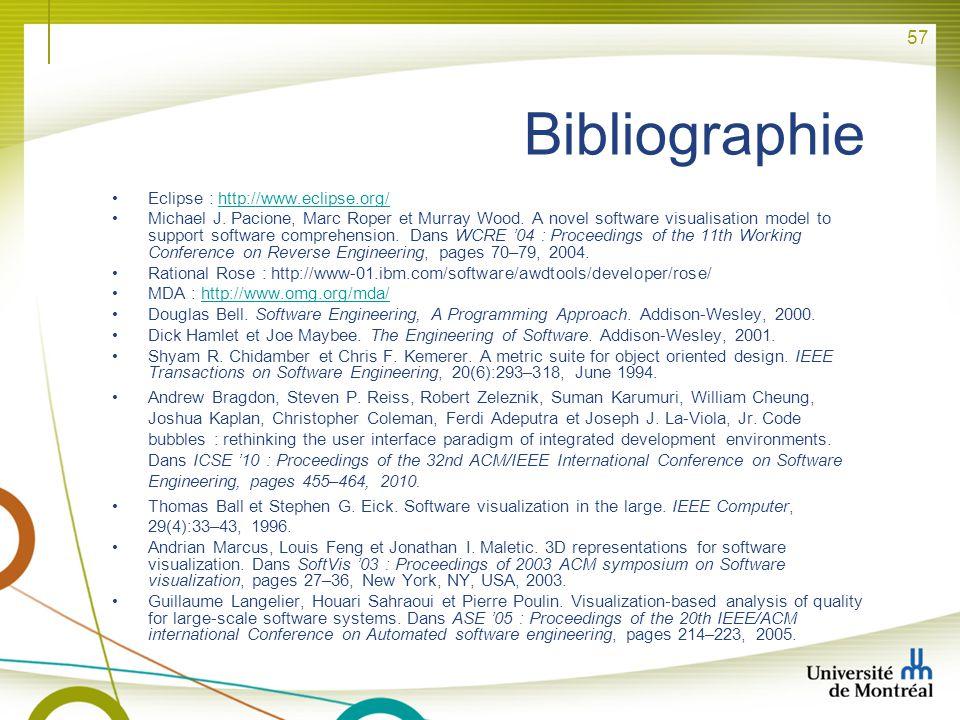57 Bibliographie Eclipse : http://www.eclipse.org/http://www.eclipse.org/ Michael J. Pacione, Marc Roper et Murray Wood. A novel software visualisatio