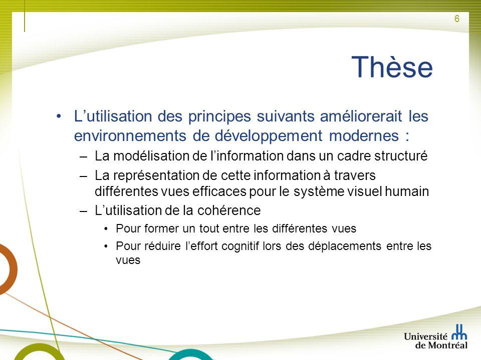 6 Thèse Lutilisation des principes suivants améliorerait les environnements de développement modernes : –La modélisation de linformation dans un cadre