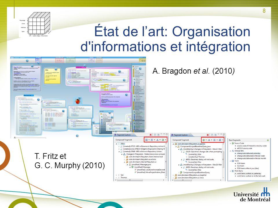 8 État de lart: Organisation d'informations et intégration A. Bragdon et al. (2010) T. Fritz et G. C. Murphy (2010)
