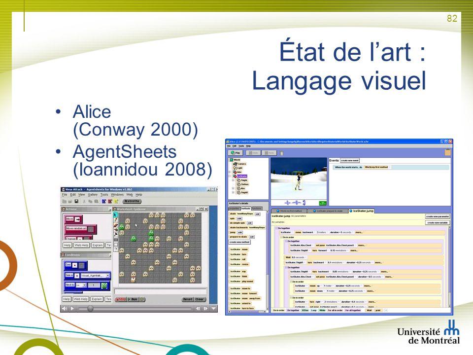 82 État de lart : Langage visuel Alice (Conway 2000) AgentSheets (Ioannidou 2008)