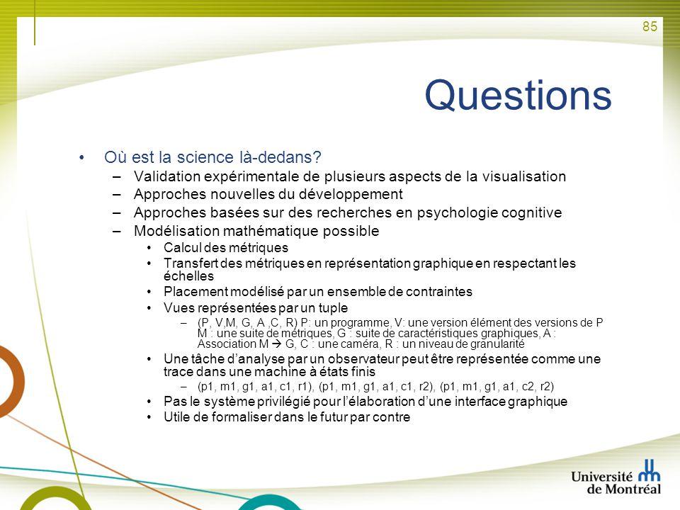 85 Questions Où est la science là-dedans? –Validation expérimentale de plusieurs aspects de la visualisation –Approches nouvelles du développement –Ap