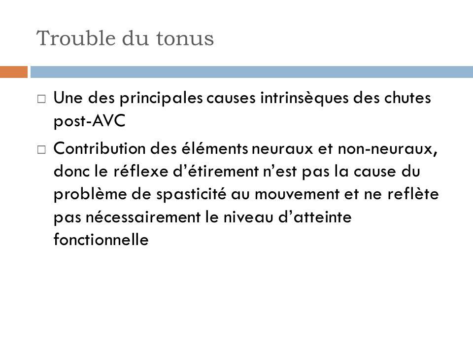 Trouble du tonus Une des principales causes intrinsèques des chutes post-AVC Contribution des éléments neuraux et non-neuraux, donc le réflexe détirem