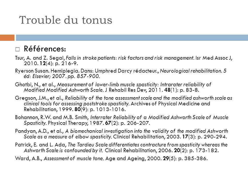 Trouble du tonus Références: Tsur, A. and Z. Segal, Falls in stroke patients: risk factors and risk management. Isr Med Assoc J, 2010. 12(4): p. 216-9