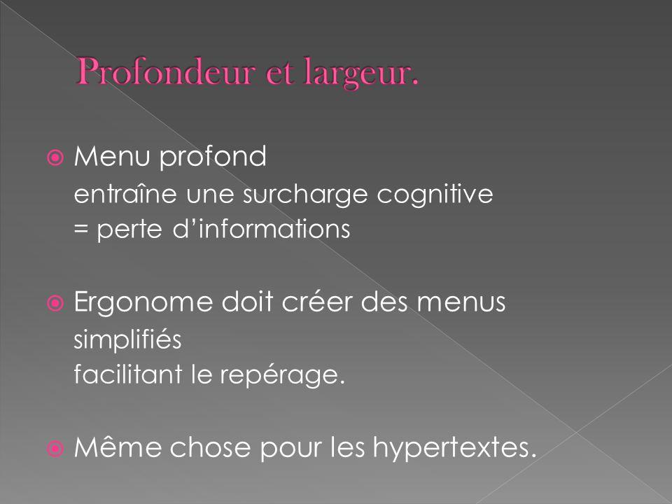 Menu profond entraîne une surcharge cognitive = perte dinformations Ergonome doit créer des menus simplifiés facilitant le repérage.