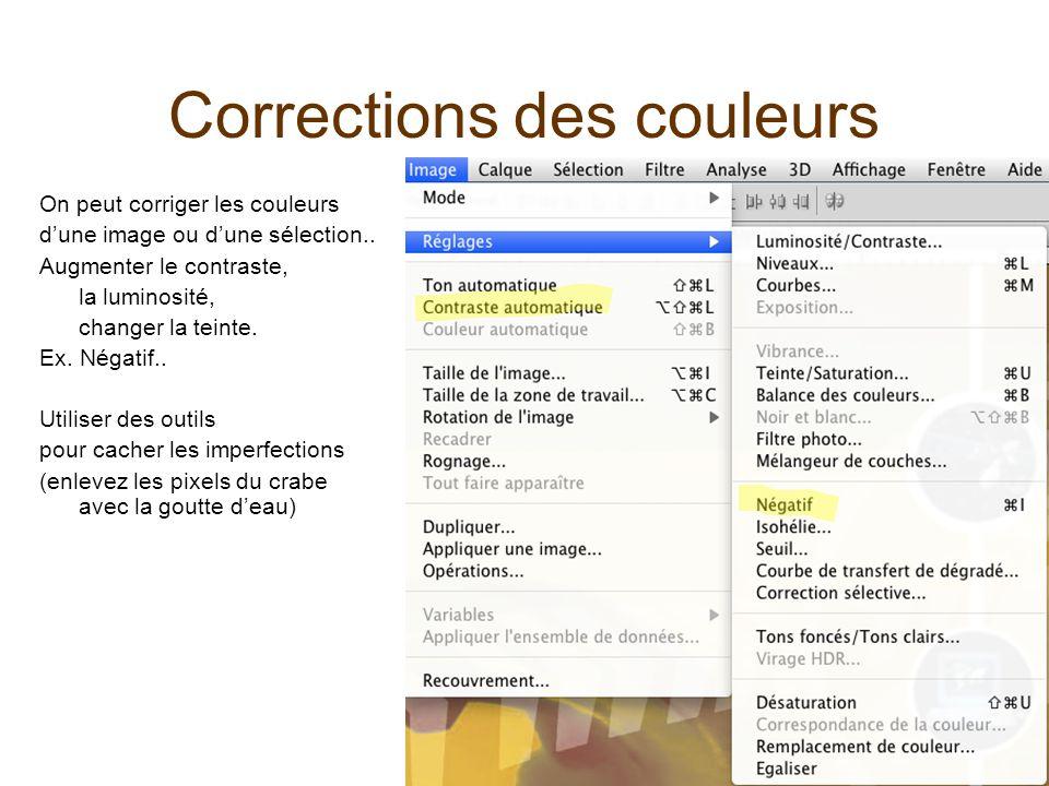 Corrections des couleurs On peut corriger les couleurs dune image ou dune sélection..