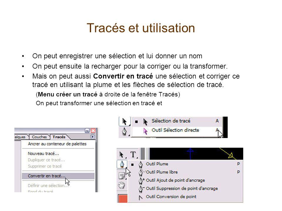 Tracés et utilisation On peut enregistrer une sélection et lui donner un nom On peut ensuite la recharger pour la corriger ou la transformer.
