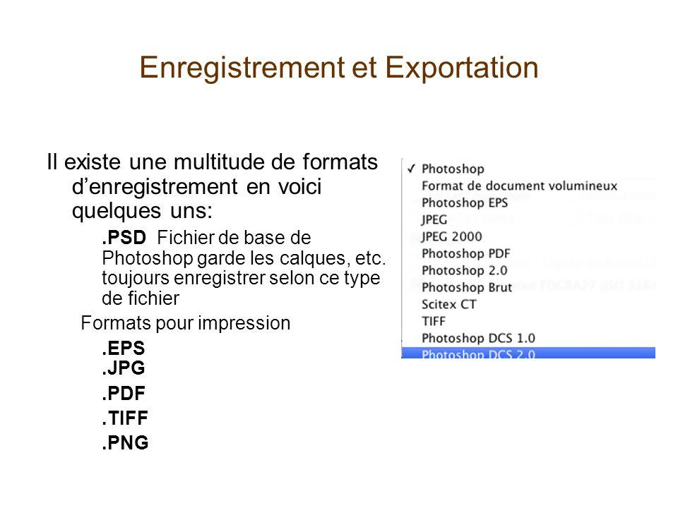 Enregistrement et Exportation Enregistrer pour le Web Permet de réduire la taille des images et de transformer les couleurs pour les adapter à linternet..GIF Image de basse qualité mais permet la transparence.JPEG Image de qualité variable.PNG Image compressée portable permet aussi la transparence PNG 24 pour éviter les bords qui paraissent.