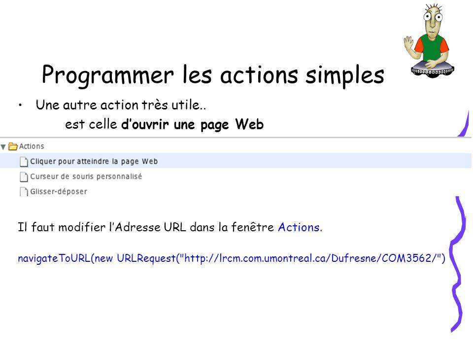 Programmer les actions simples Une autre action très utile.. est celle douvrir une page Web Il faut modifier lAdresse URL dans la fenêtre Actions. nav