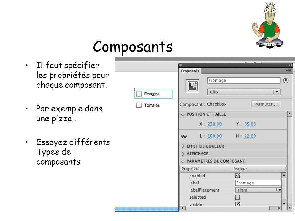 Composants Il faut spécifier les propriétés pour chaque composant.