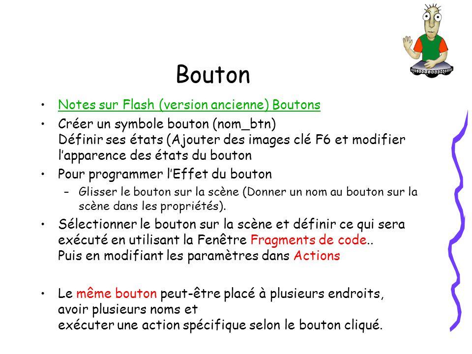 Bouton Notes sur Flash (version ancienne) Boutons Créer un symbole bouton (nom_btn) Définir ses états (Ajouter des images clé F6 et modifier lapparence des états du bouton Pour programmer lEffet du bouton –Glisser le bouton sur la scène (Donner un nom au bouton sur la scène dans les propriétés).