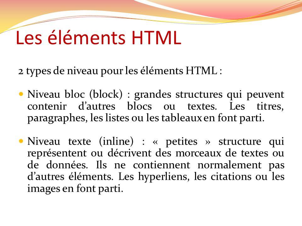 Les éléments HTML 2 types de niveau pour les éléments HTML : Niveau bloc (block) : grandes structures qui peuvent contenir dautres blocs ou textes.