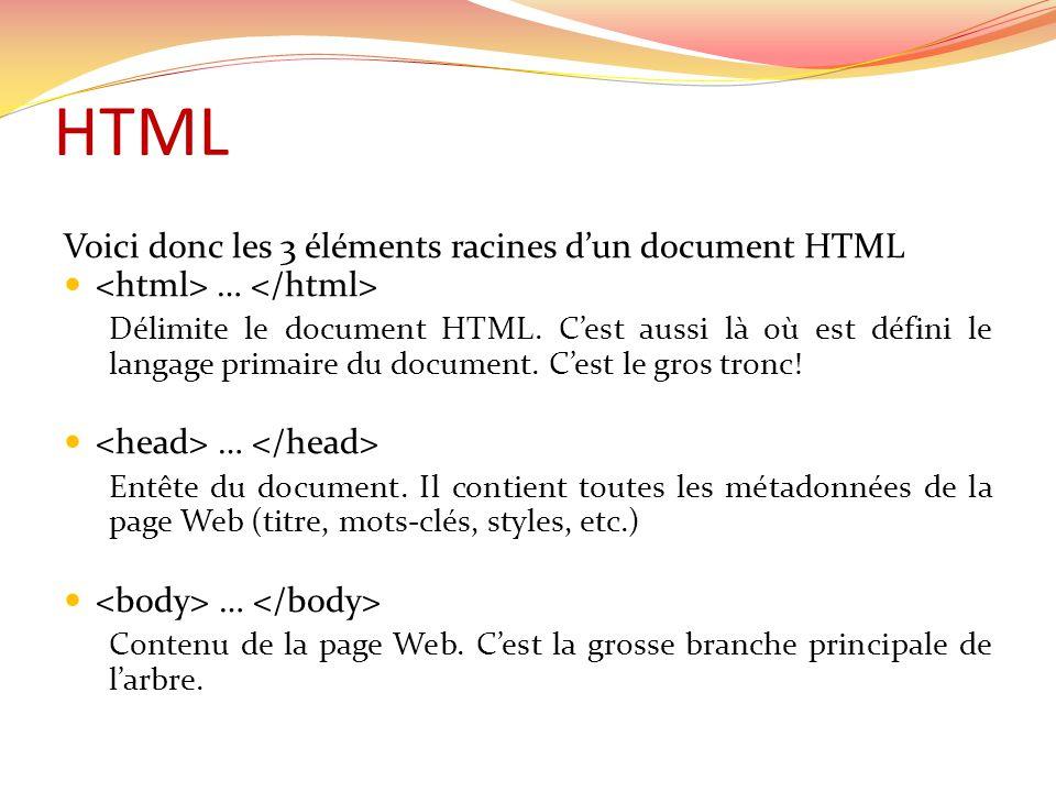 HTML Voici donc les 3 éléments racines dun document HTML … Délimite le document HTML.
